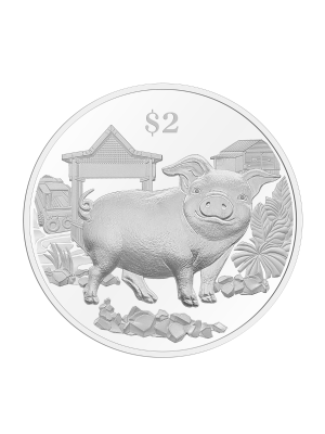 2019 Singapore Lunar Boar Nickel-Plated Zinc Proof-Like Coin