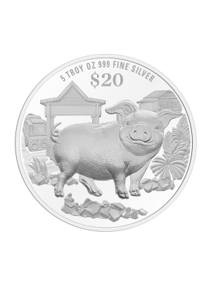 2019 Singapore Lunar Boar 5 troy oz 999 Fine Silver Proof Coin