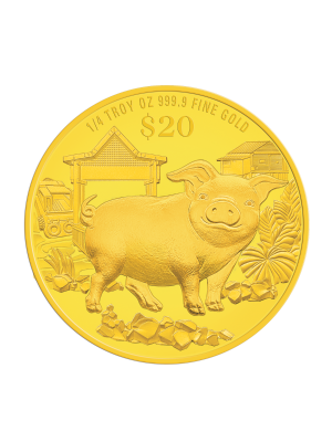 2019 Singapore Lunar Boar 1/4 troy oz 999.9 Fine Gold Proof Coin
