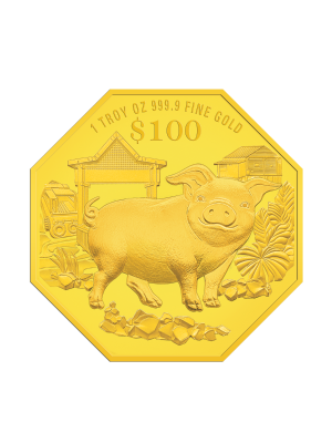 2019 Singapore Lunar Boar 1 troy oz 999.9 Fine Gold Proof Coin