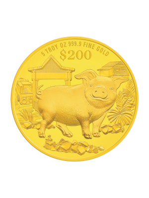 2019 Singapore Lunar Boar 5 troy oz 999.9 Fine Gold Proof Coin