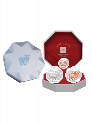 2019 Singapore Lunar Boar Silver 3-Coin Set