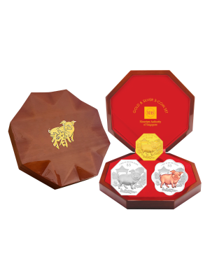 2019 Singapore Lunar Boar Gold & Silver 3-Coin Set