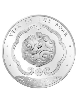 Bhutan Lunar Boar 1oz 999 Fine Silver Proof Colour Coin