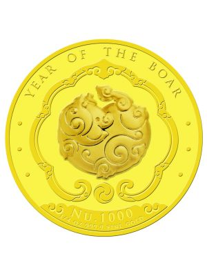 Bhutan Lunar Boar 1/4oz 999.9 Fine Gold Proof Colour Coin