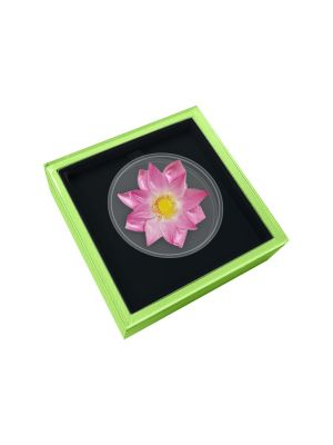 Enchanting Lotus 1 oz 999 Fine Silver Proof-Like Colour Coin (in Box)