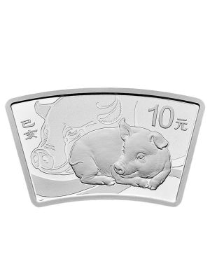 China Pig Fan-Shaped 999 Fine Silver Proof Coin