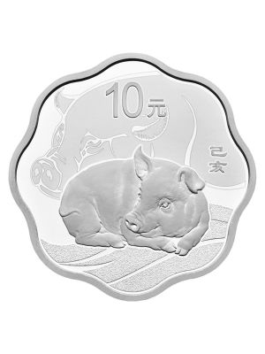 China Pig Blossom-Shaped 999 Fine Silver Proof Coin