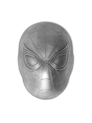 Marvel Spiderman Mask 2oz 999 Fine Silver Coin
