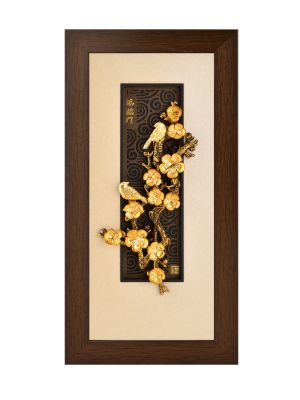 Golden Happiness Gold Foil Frame with Magpies and Plum Blossom Tree