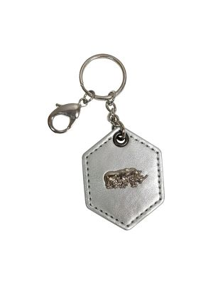 Rhinoceros (Silver Leather) Keychain