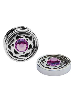 February Birthstone Crystals - Cufflinks & Charms Set