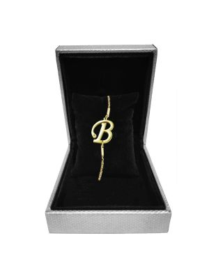 Alphabet B Bracelet (Gold-plated with Crystal)