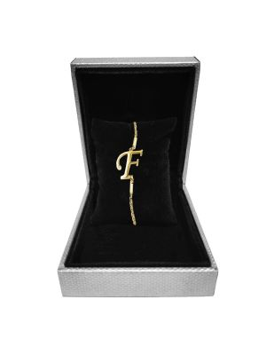 Alphabet F Bracelet (Gold-plated with Crystal)