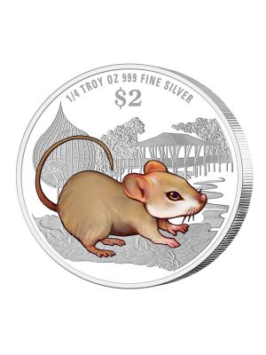2020 Singapore Lunar Rat 1/4 troy oz 999 Fine Silver Proof-Like Colour Coin