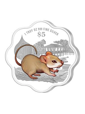2020 Singapore Lunar Rat 1 troy oz 999 Fine Silver Proof Colour Coin