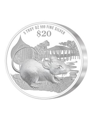 2020 Singapore Lunar Rat 5 troy oz 999 Fine Silver Proof Coin