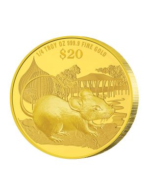 2020 Singapore Lunar Rat 1/4 troy oz 999.9 Fine Gold Proof Coin
