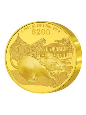 2020 Singapore Lunar Rat 5 troy oz 999.9 Fine Gold Proof Coin