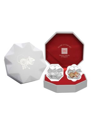 2020 Singapore Lunar Rat Silver 2-Coin Set