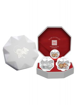 2020 Singapore Lunar Rat Silver 3-Coin Set