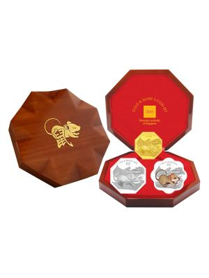 2020 Singapore Lunar Rat Gold & Silver 3-Coin Set