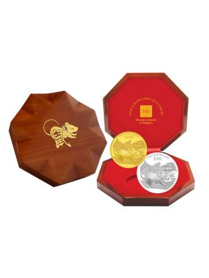 2020 Singapore Lunar Rat Gold & Silver 5 Troy oz 2-Coin Set
