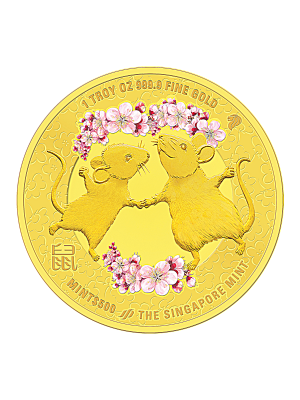 The Singapore Mint Lunar Rat 1 oz 999.9 Fine Gold Proof Colour Medallion