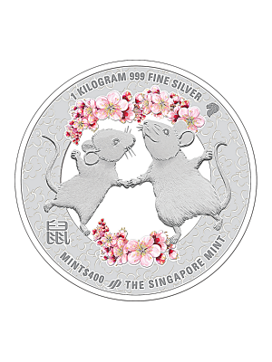 The Singapore Mint Lunar Rat 1kg 999 Fine Silver Proof-like Colour Medallion
