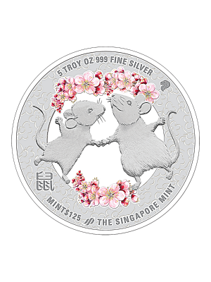 The Singapore Mint Lunar Rat 5oz 999 Fine Silver Proof Colour Medallion