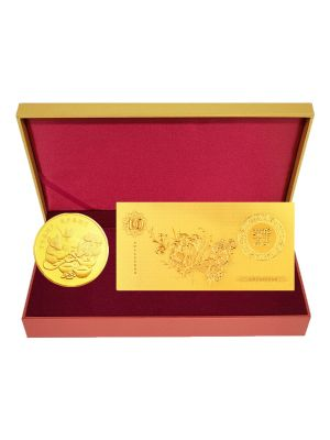 Festive Rat Medallion with Gold Foil Note Set