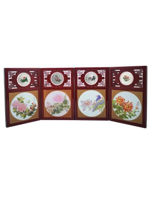 Taiwan Blossom Series 1oz 999 Fine Silver 4-Medallion Set with Decorative Screen
