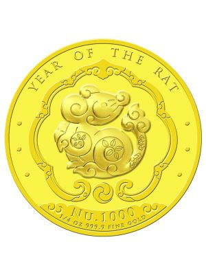 Bhutan Lunar Rat 1/4 oz 999.9 Fine Gold Proof Colour Coin