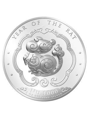 Bhutan Lunar Rat 5 oz 999 Fine Silver Proof Colour Coin