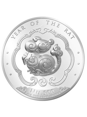 Bhutan Lunar Rat 1 oz 999 Fine Silver Proof Colour Coin