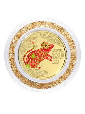 Macau Lunar Rat 1/2 oz 999.9 Fine Gold Proof Colour Coin with Crystal Ring