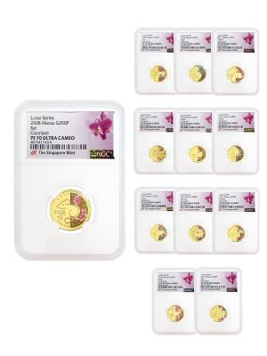 Macau 12-in-1 PF70 Gold Coin Set