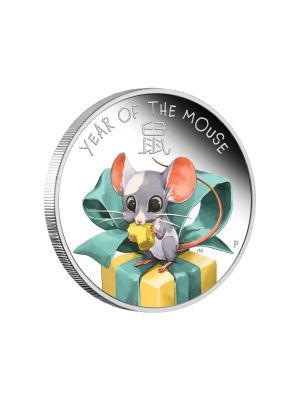 Tuvalu Baby Mouse 1/2oz 999 Fine Silver Proof Colour Coin