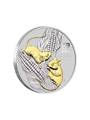 Australia Year of the Mouse 1oz 999 Fine Silver Gold Gilded Coin