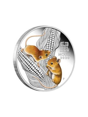 Australia Year of the Mouse 1oz 999 Fine Silver Proof Colour Coin