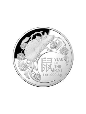 Australia Lunar Year of the Rat 1oz 999 Fine Silver Proof Domed Coin