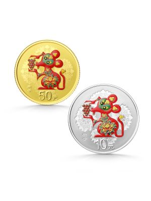 2020 China Lunar Year of the Rat 3gm Gold Coin and 30gm Silver 2-Coin Colour Proof Set