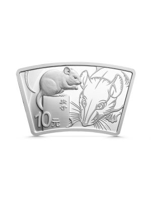2020 China Lunar Year of the Rat 30gm Silver Fan-shaped Proof Coin