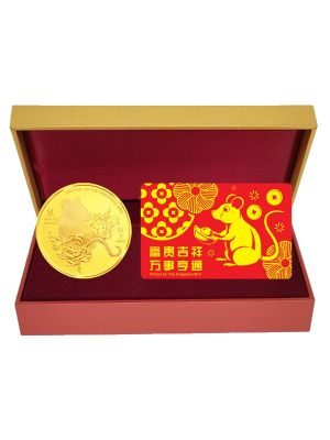 Golden Rat Medallion with NETS FlashPay Card Set