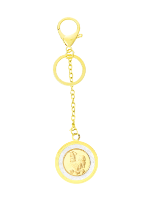 Rooster Gold Foil Keychain