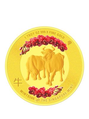 The Singapore Mint Lunar Ox 1 oz 999.9 Fine Gold Proof Colour Medallion