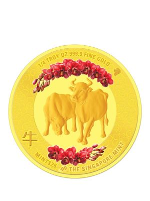 The Singapore Mint Lunar Ox 1/4 oz 999.9 Fine Gold Proof Colour Medallion