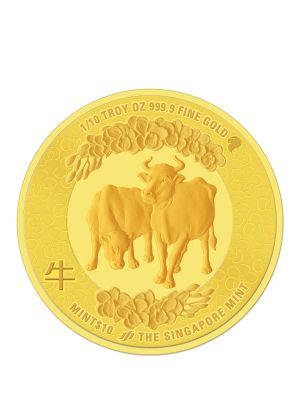 The Singapore Mint Lunar Ox 1/10 oz 999.9 Fine Gold Proof Medallion