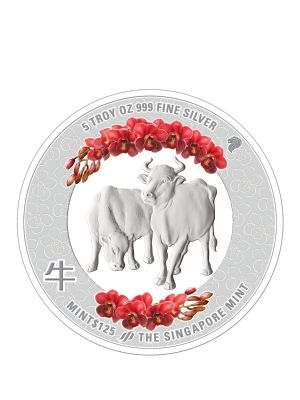 The Singapore Mint Lunar Ox 5oz 999 Fine Silver Proof Colour Medallion