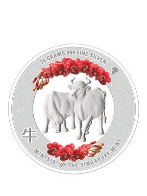 The Singapore Mint Lunar Ox 20 gram 999 Fine Silver Proof Colour Medallion